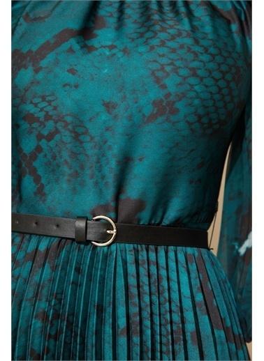 Setre Somon Floral Desen Piliseli Elbise Yeşil